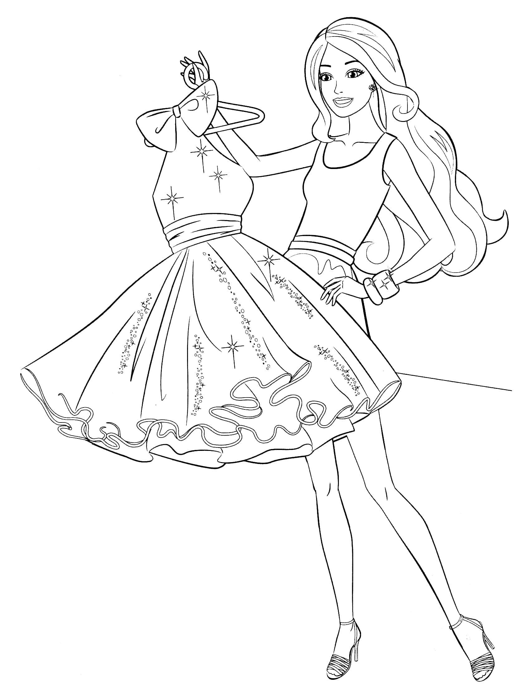 Раскраска Барби и вечернее платье