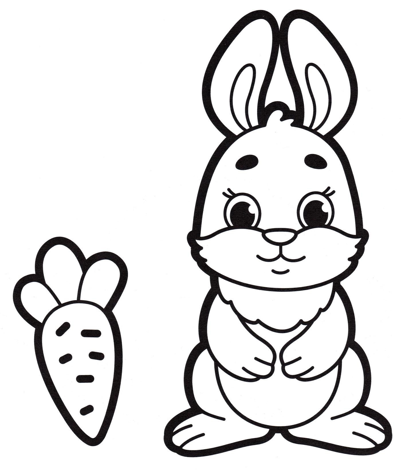 Раскраска Кролик и морковка, распечатать бесплатно или скачать