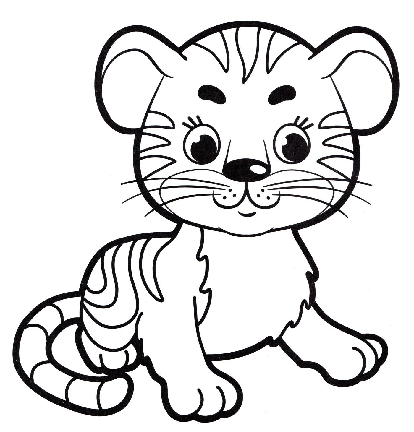 Раскраска Маленький тигр, распечатать бесплатно или скачать