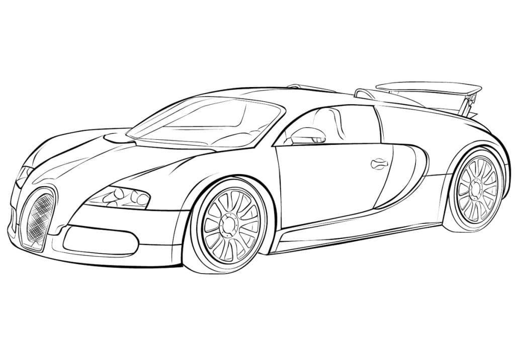 Раскраска Машина Bugatti Veyron
