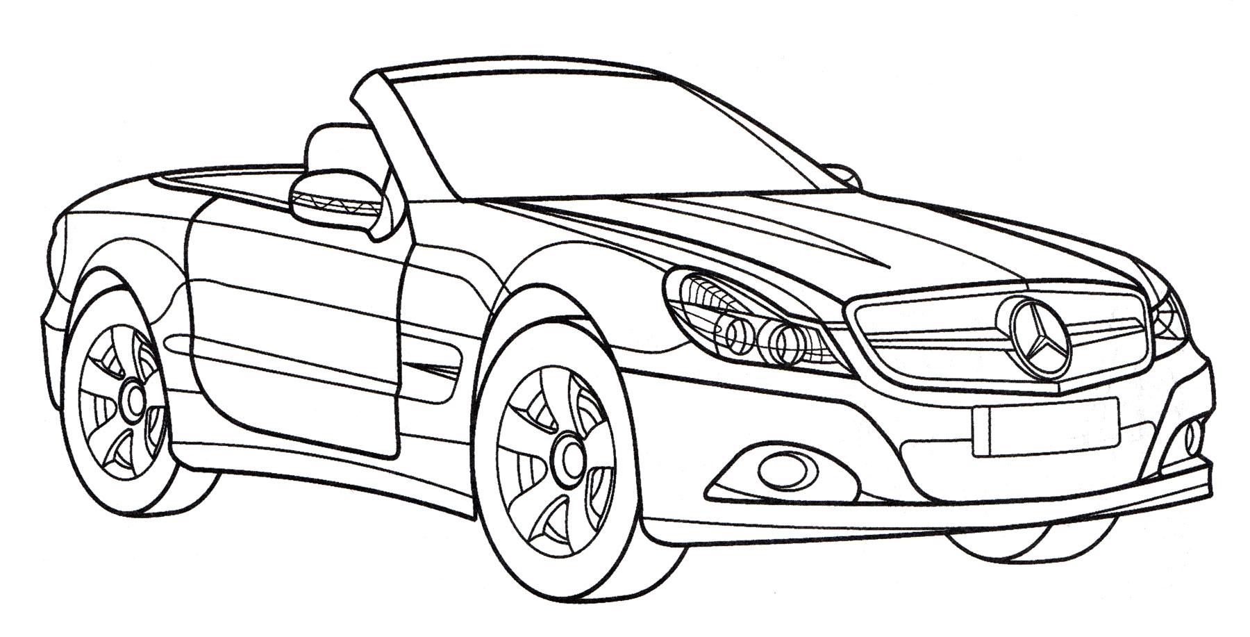 Раскраска Мерседес SL 500, распечатать бесплатно или скачать