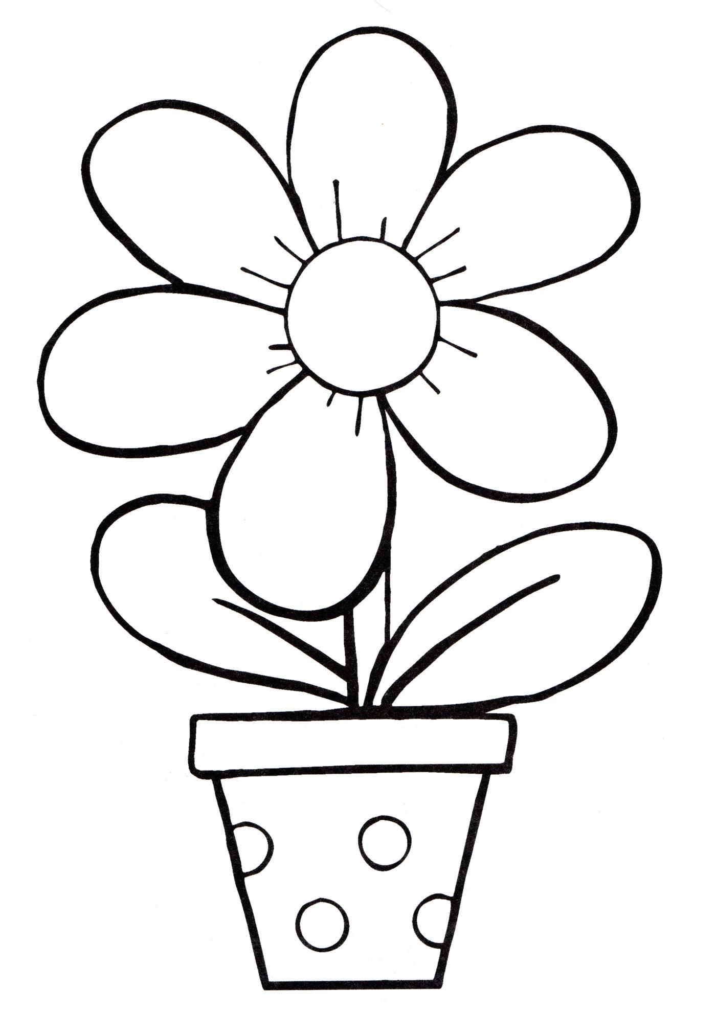 Раскраска Красивый цветок в горшке, распечатать бесплатно ...