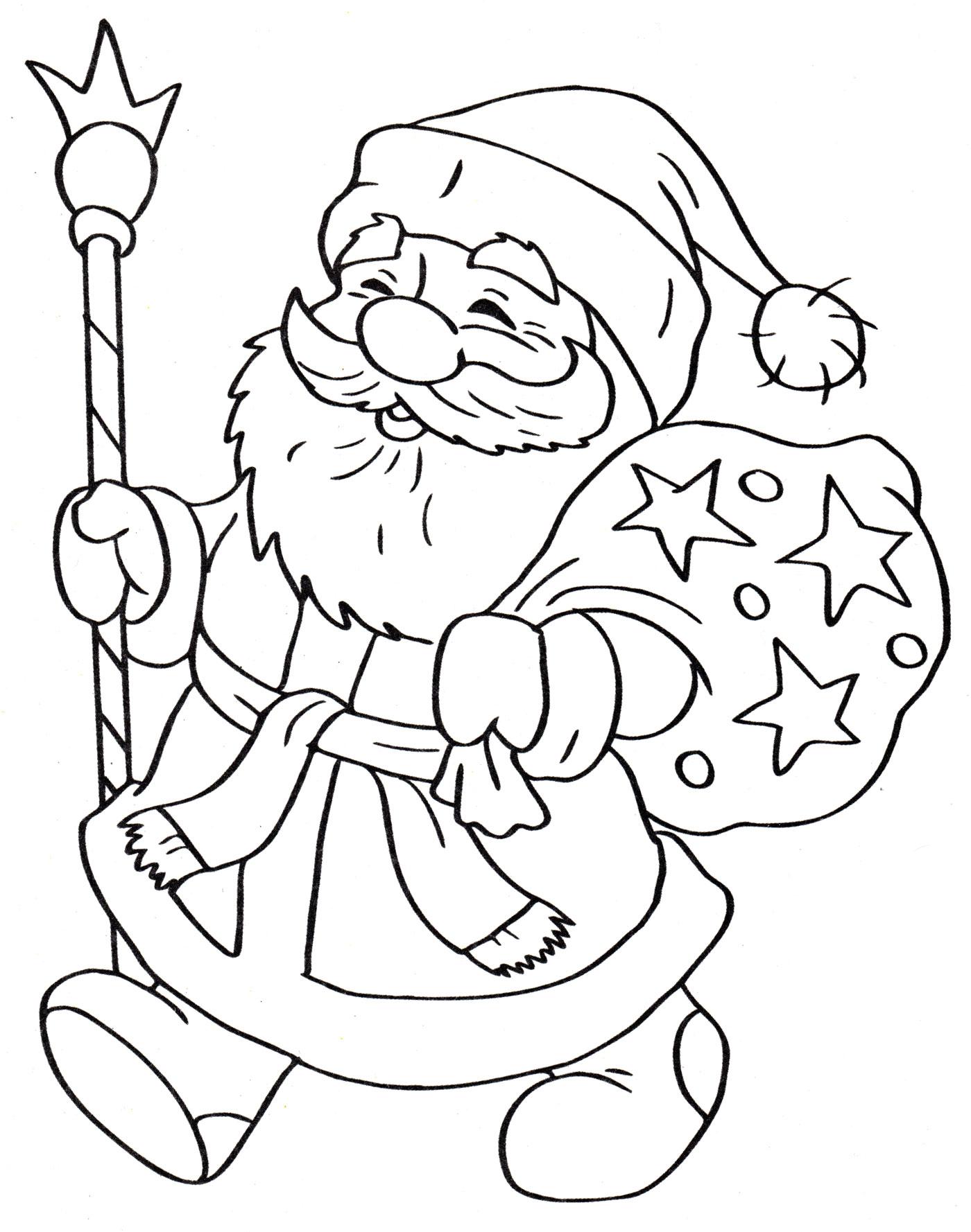 Раскраска Дед мороз с подарками