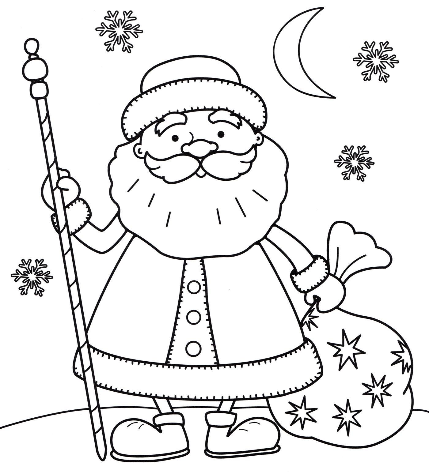 Раскраска Дедушка мороз с мешком