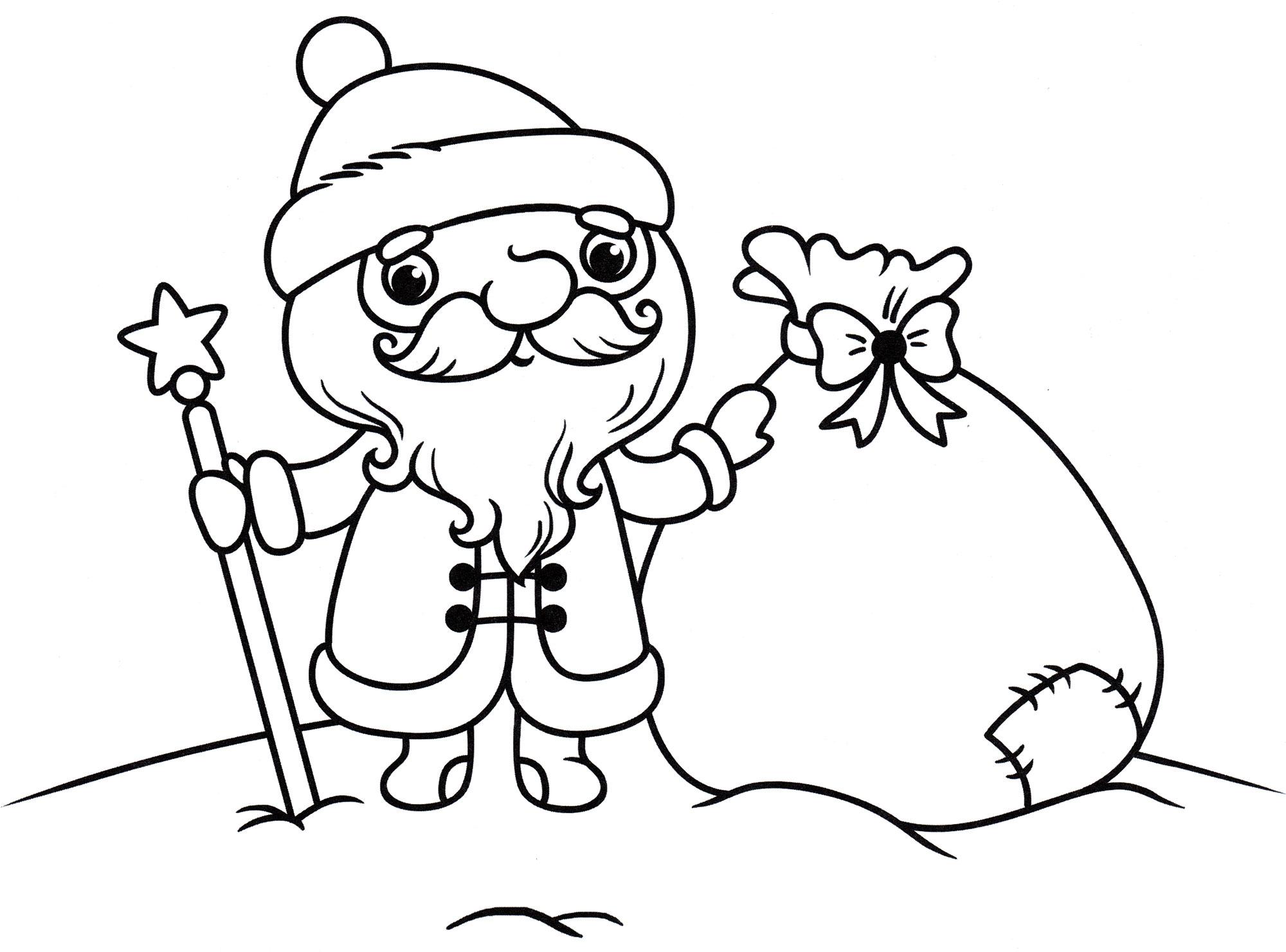 Раскраска Дед мороз и мешок подарков