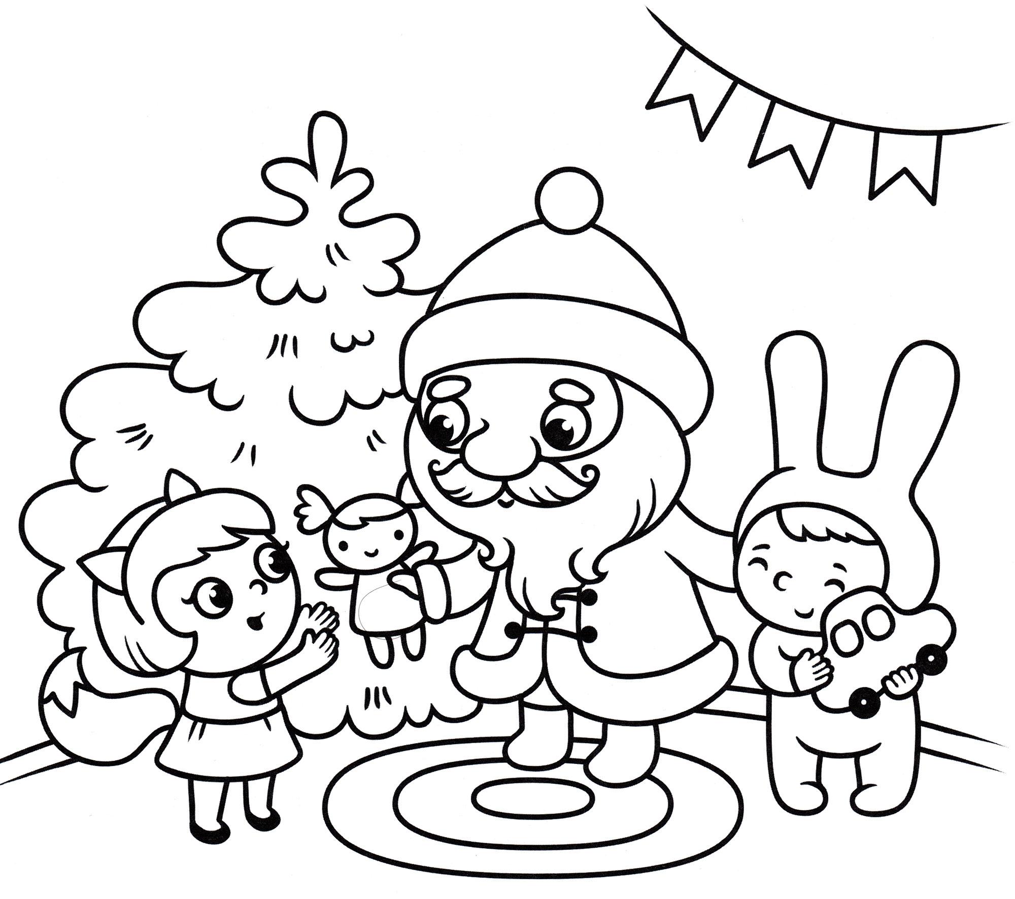 Раскраска Дед мороз дарит подарки