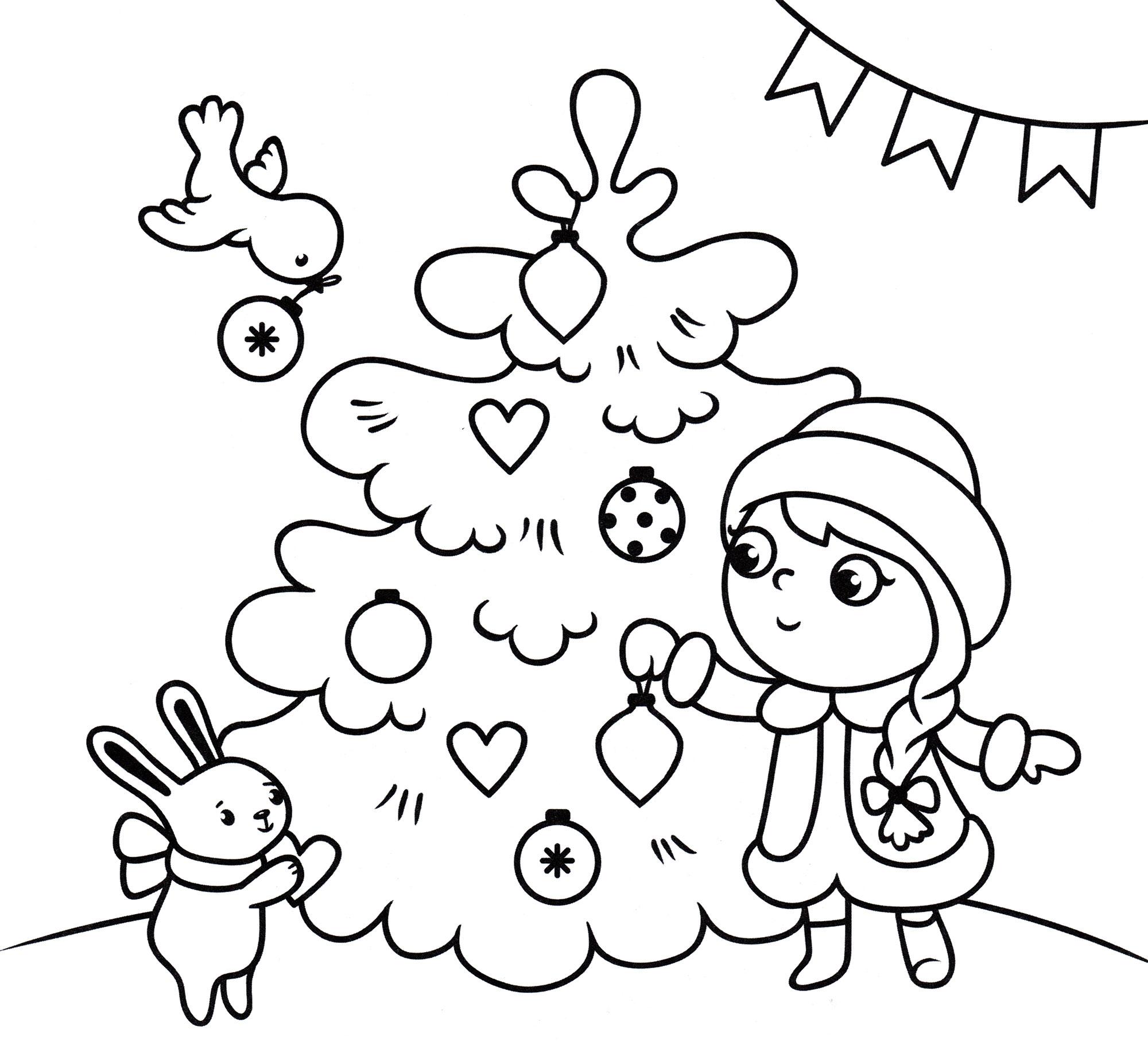 Раскраска Снегурочка украшает елку