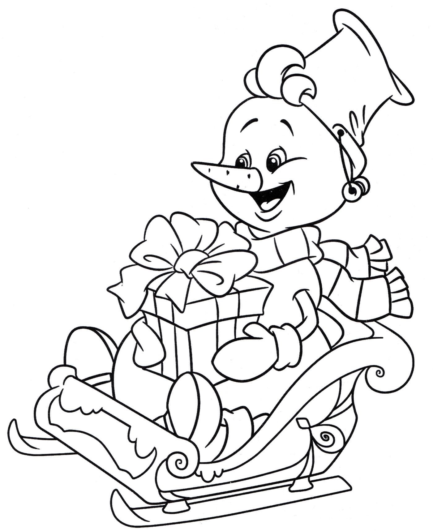 Раскраска Снеговик с подарком