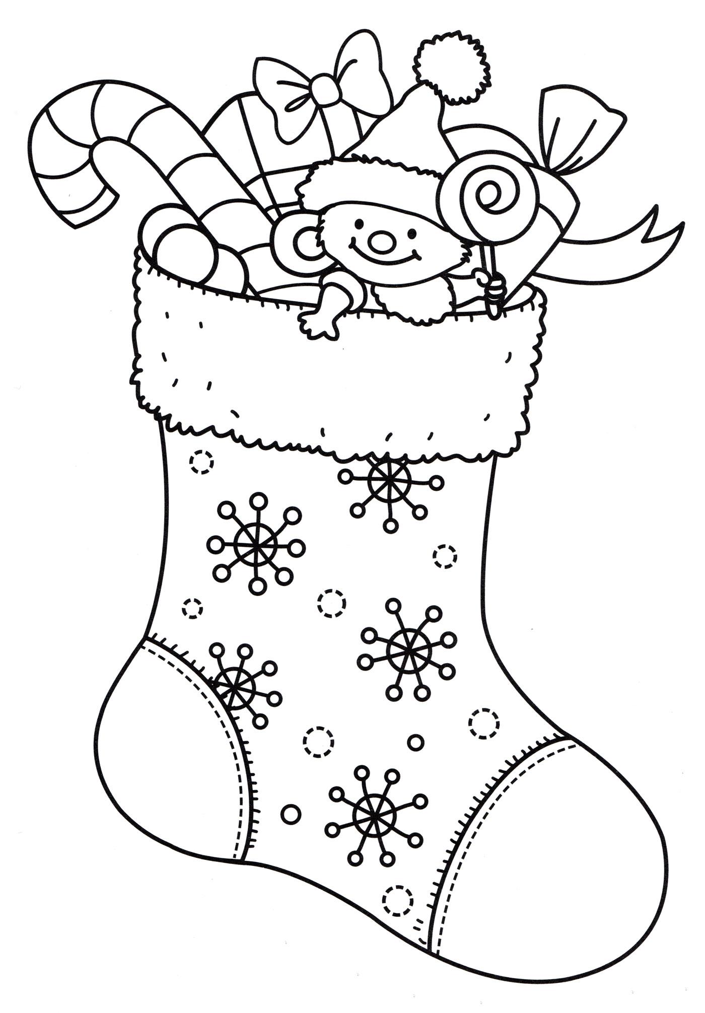 Раскраска Подарки в носочке