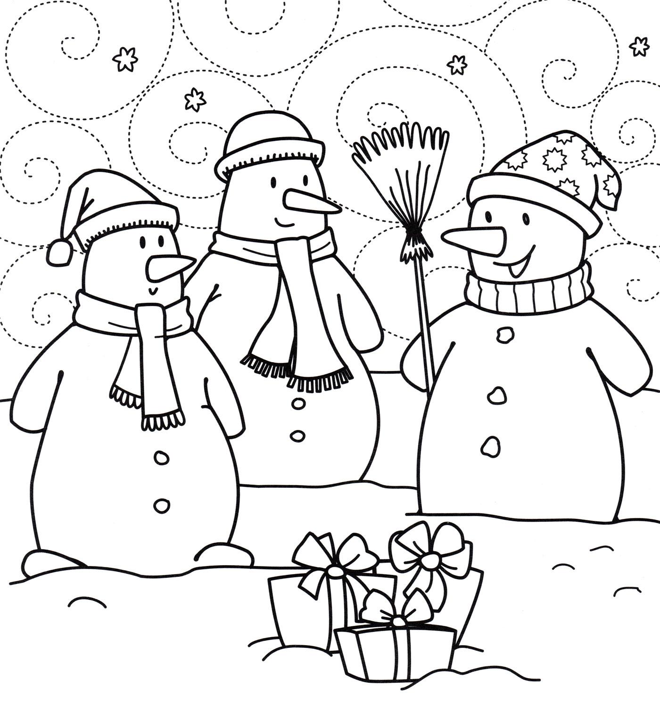 Раскраска Снеговики с подарками