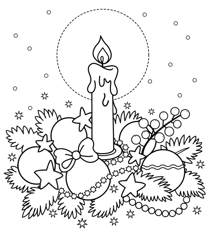 Раскраска Свеча и новогодние игрушки