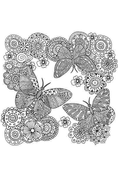 Раскраска Цветы и бабочки, распечатать бесплатно или скачать