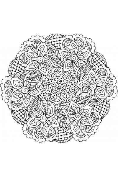 Раскраска Мандала Полевые цветы, распечатать бесплатно или ...