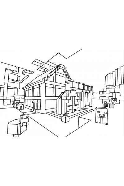 Раскраска Дом из Майнкрафт, распечатать бесплатно или скачать