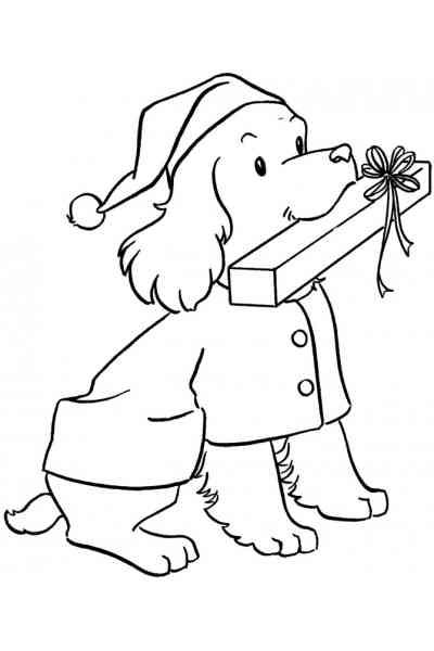 Раскраска Собака с подарком, распечатать бесплатно или скачать