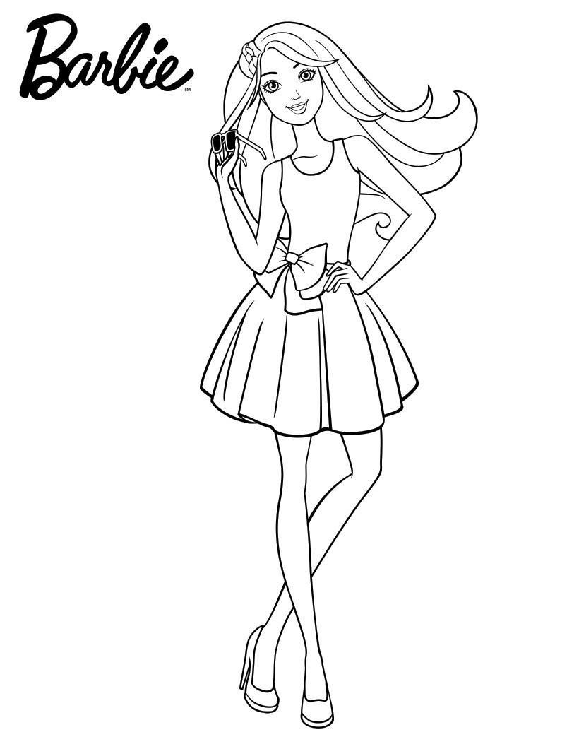 Раскраска Летняя Барби
