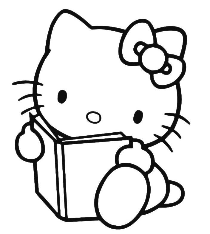 Раскраска Китти читает книжку