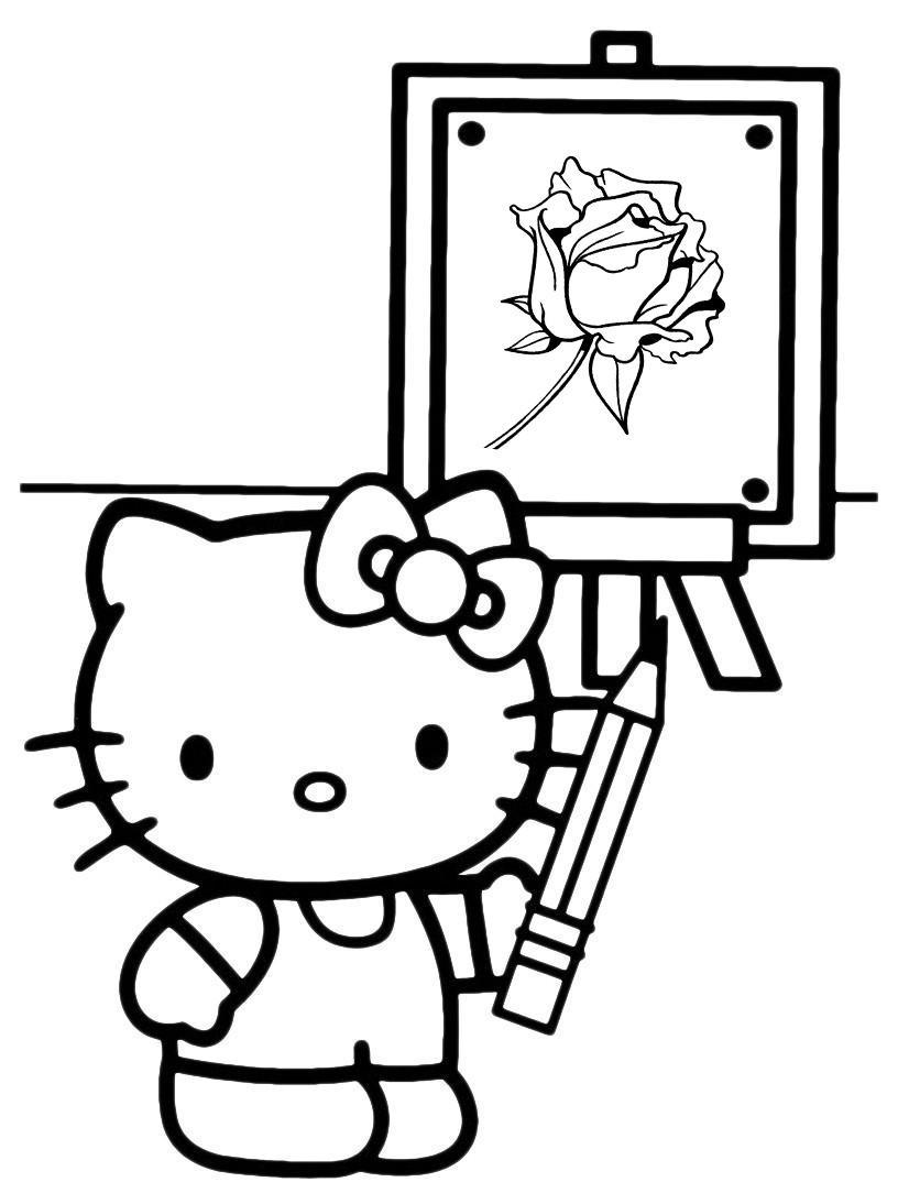 Раскраска Китти рисует картину