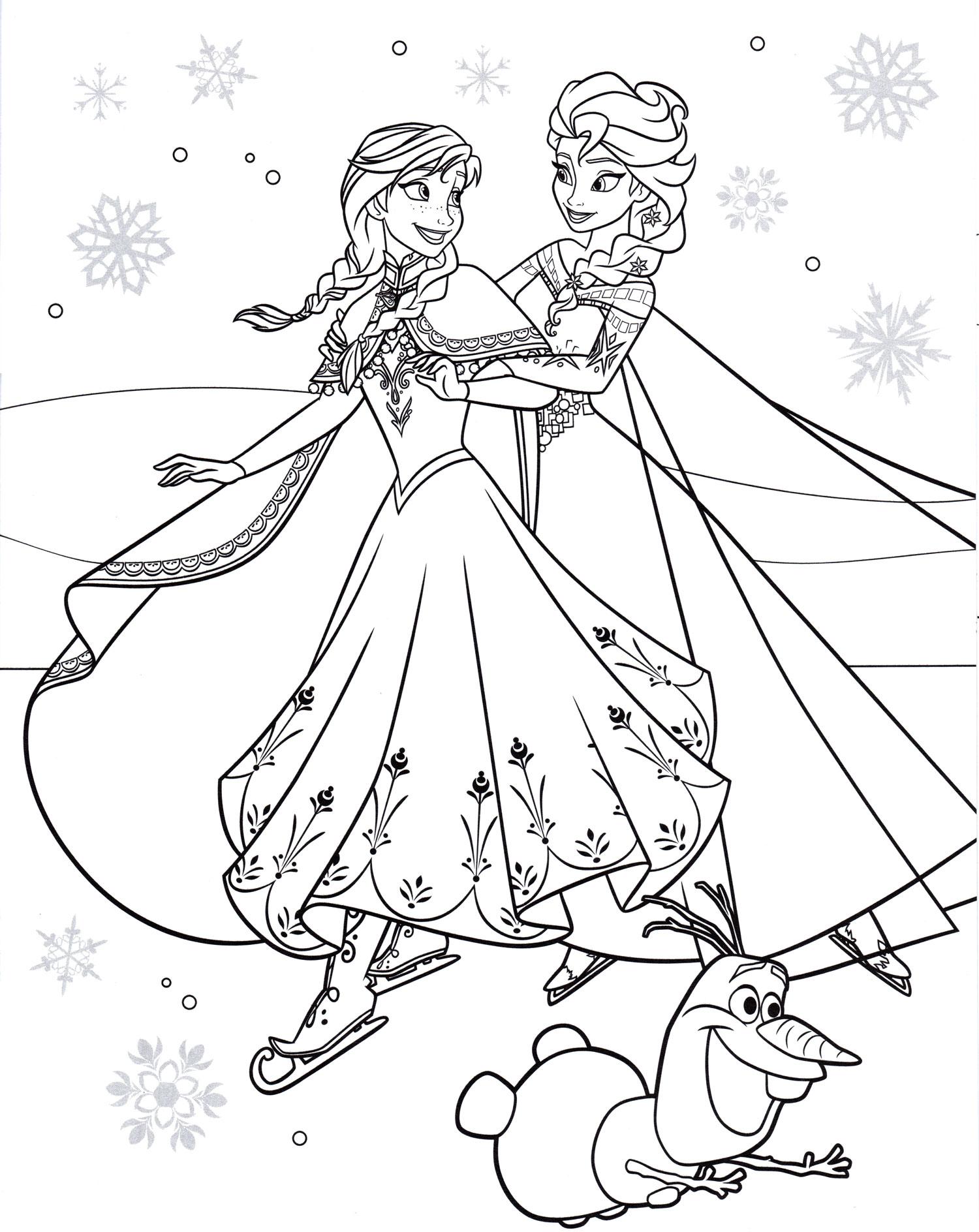 Раскраска Эльза и Анна на коньках