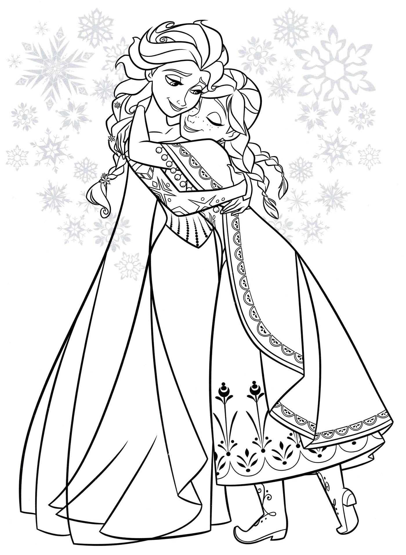 Раскраска Анна обнимает Эльзу