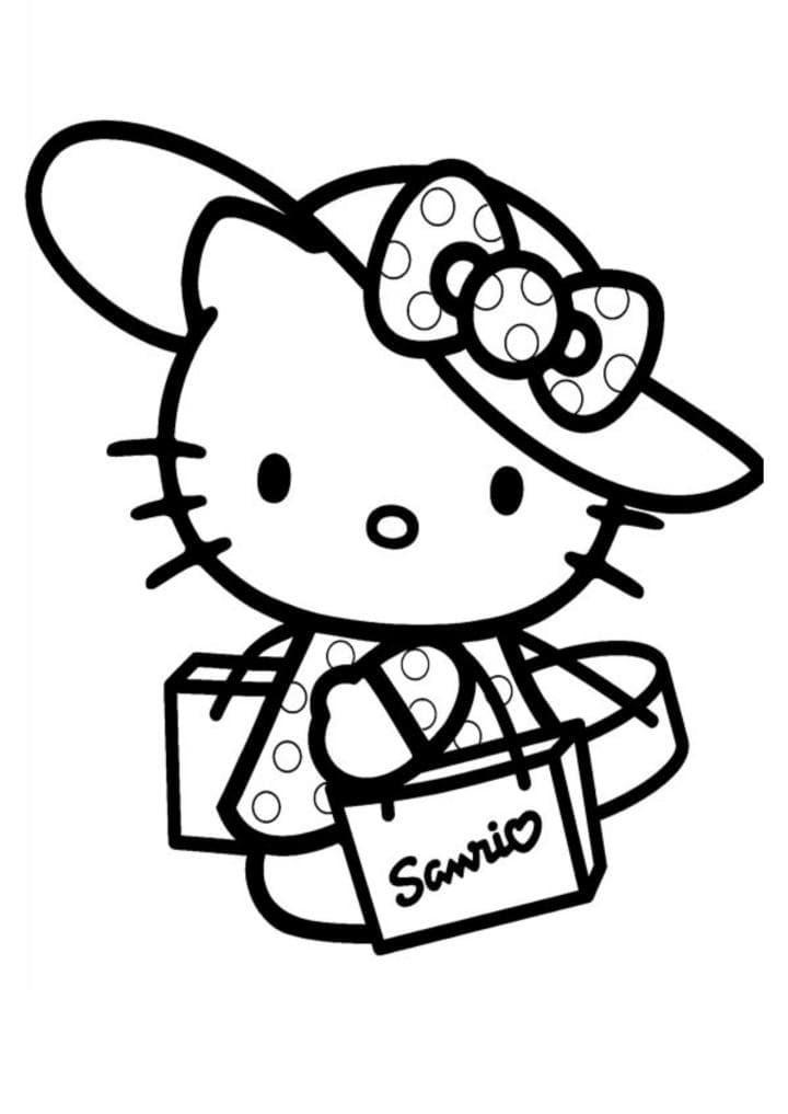 Раскраска Китти в шляпке