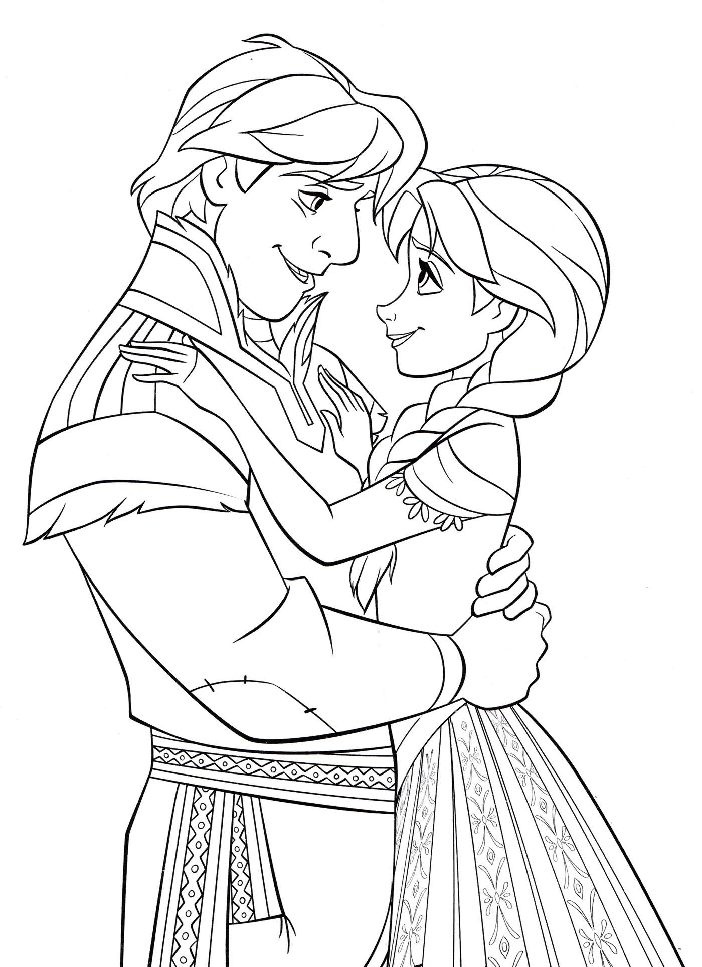 Раскраска Анна и Христоф обнимаются