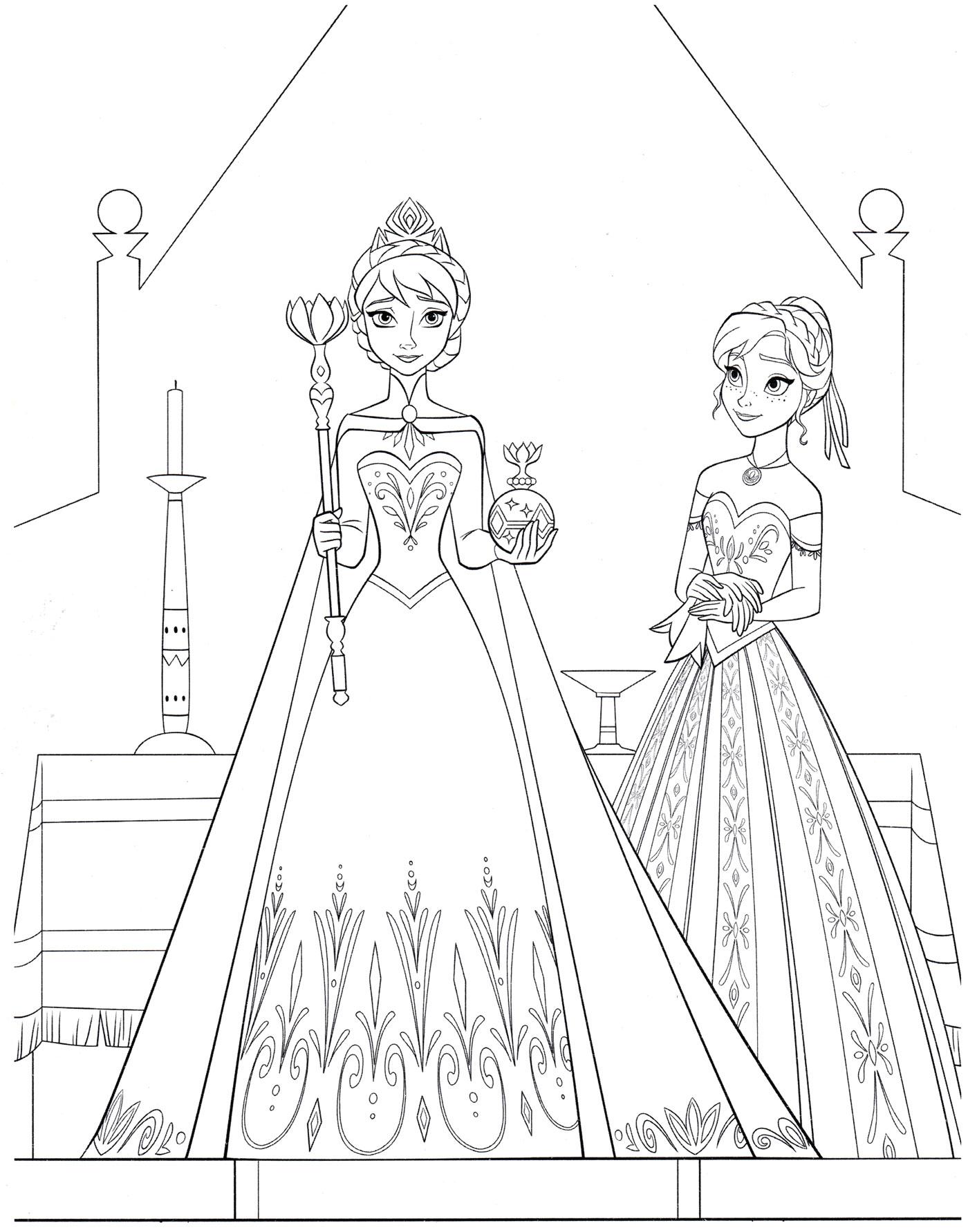 Раскраска Коронация Эльзы