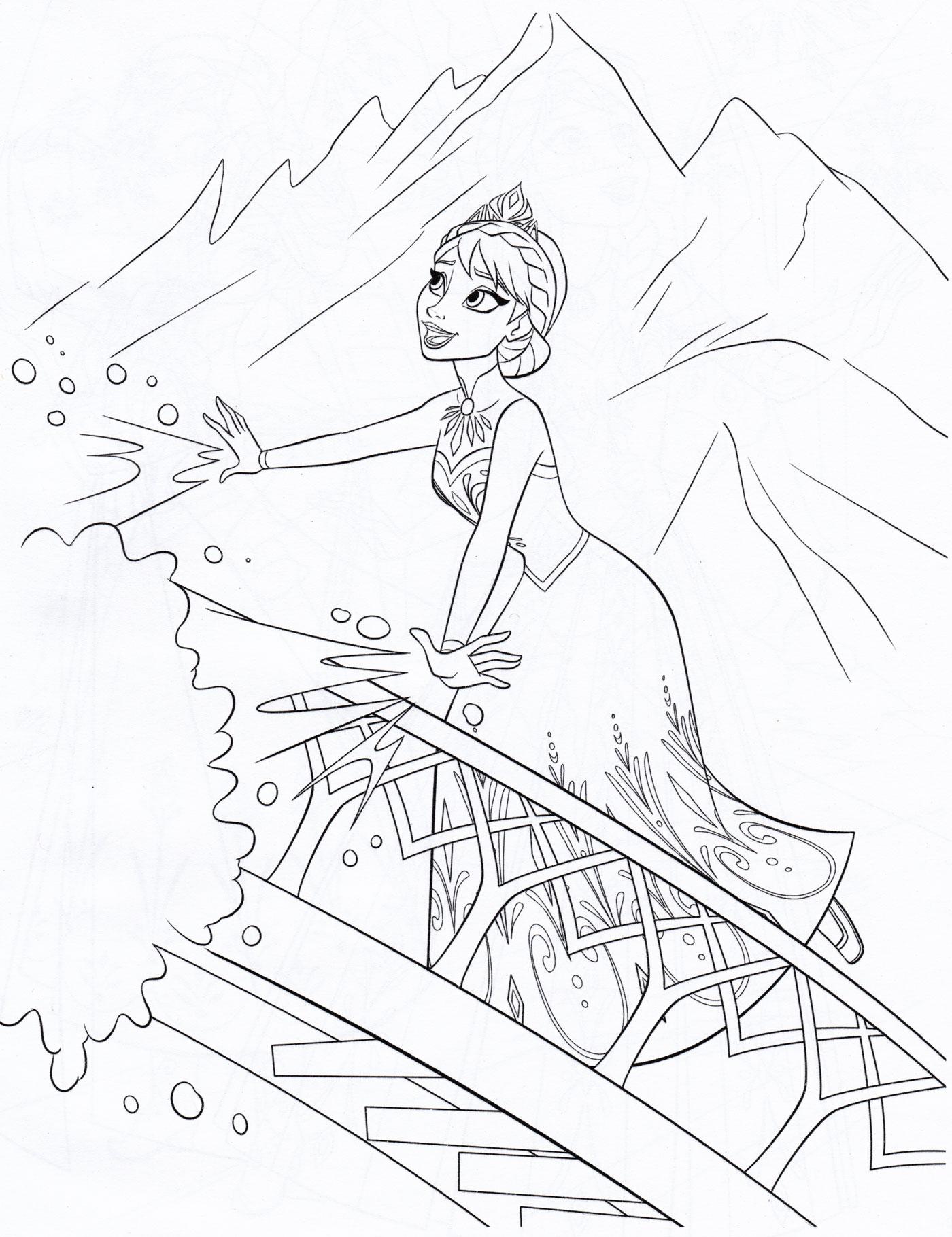 Раскраска Эльза строит ледяной дворец