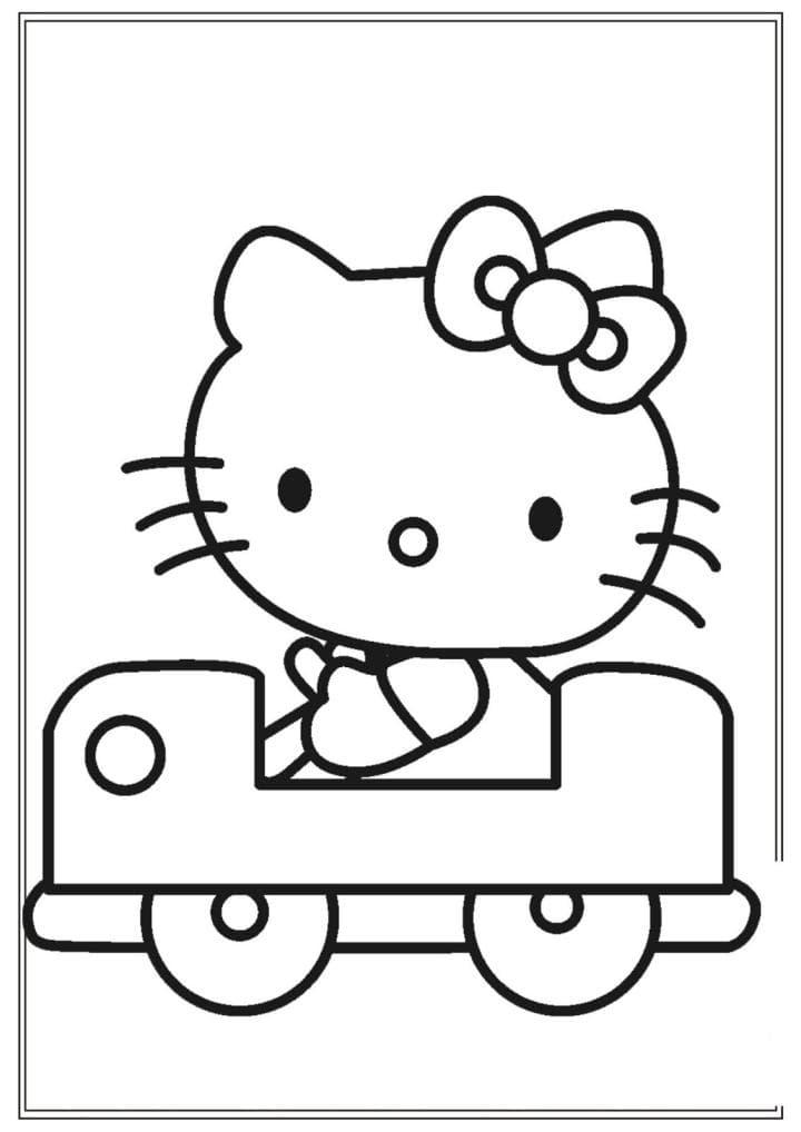 Раскраска Китти катается на машинке