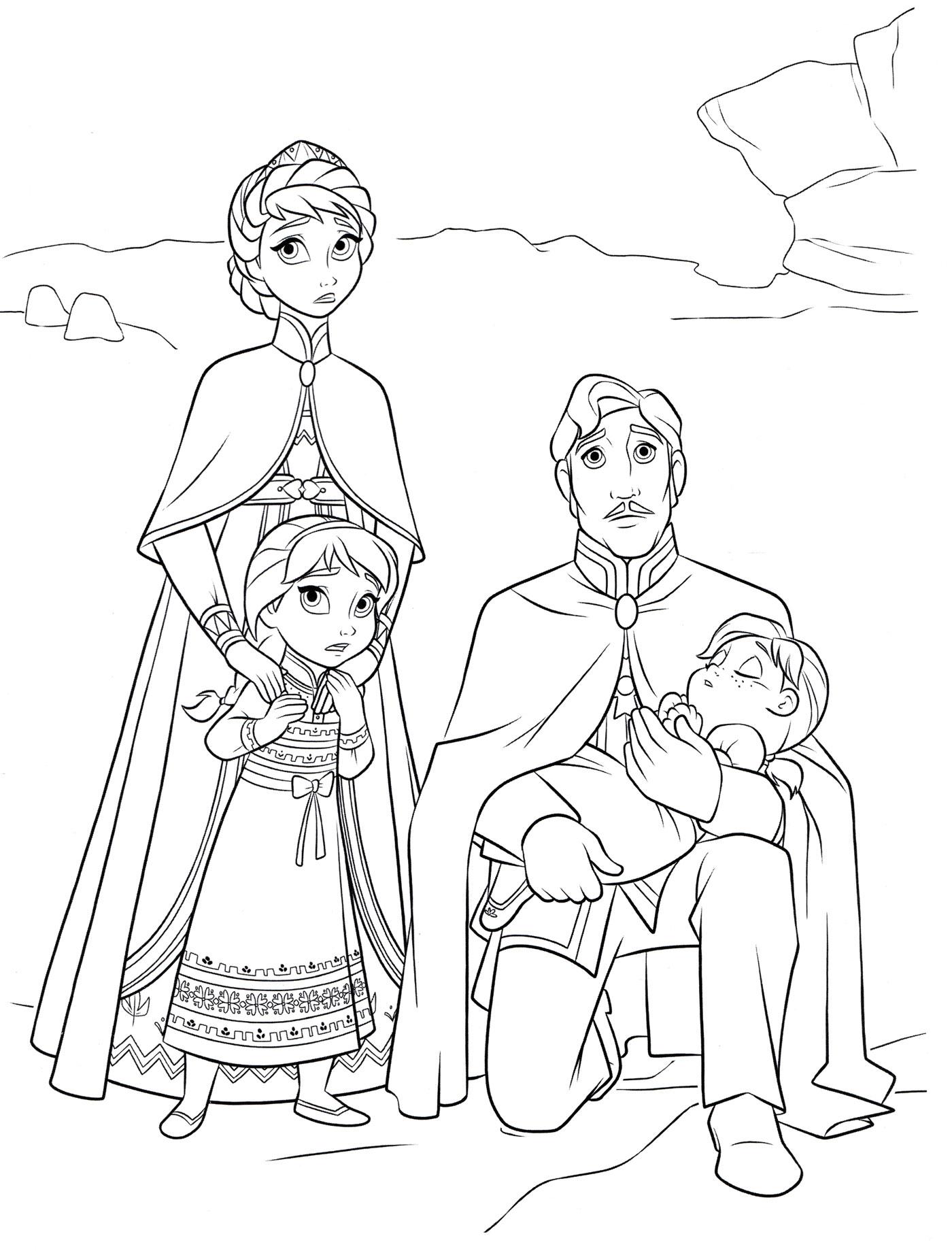 Раскраска Король и королева Эренделла из мультика Холодное ...