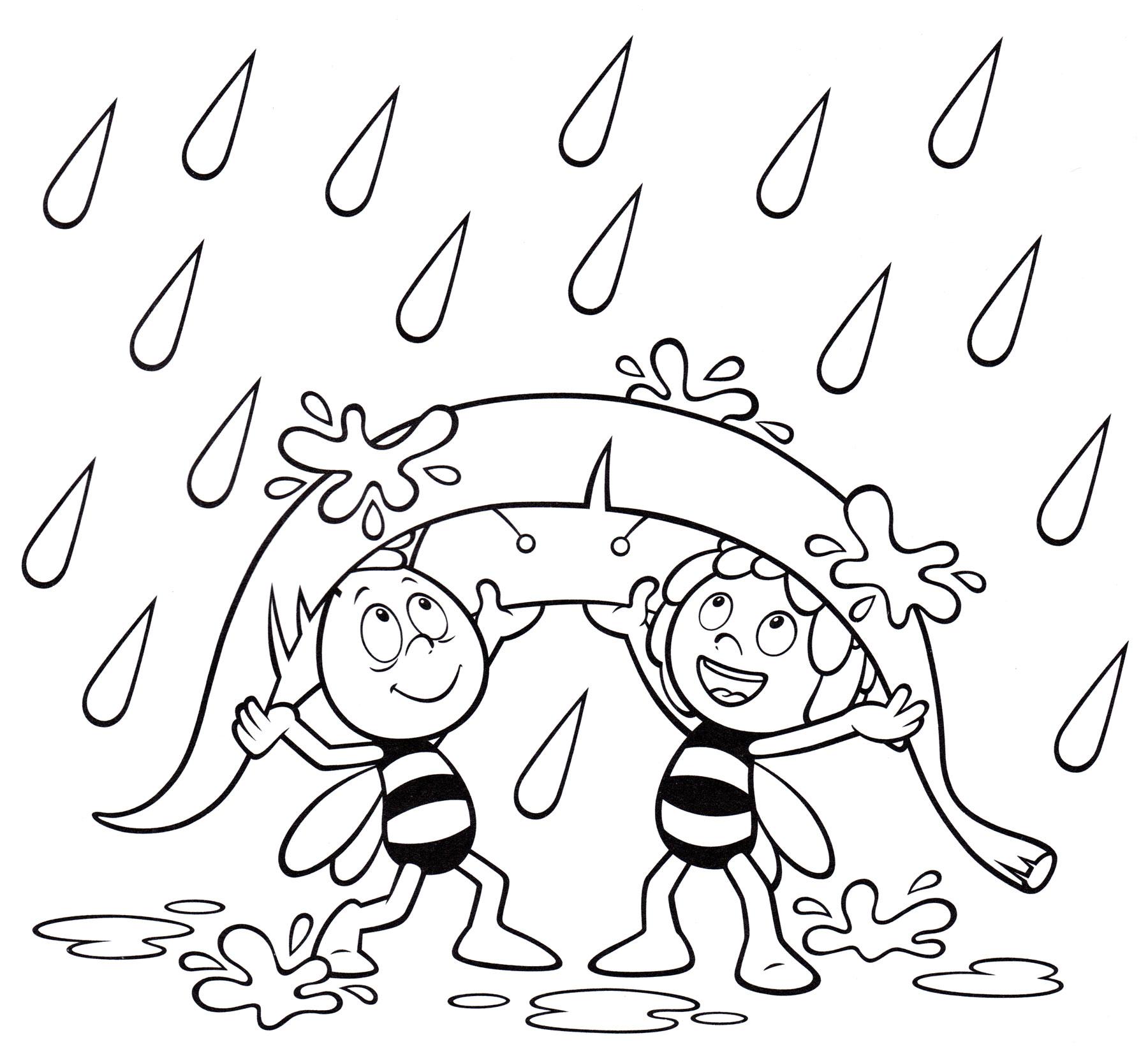 Раскраска Майя и Вилли под листком из мультика Пчелка Майя ...