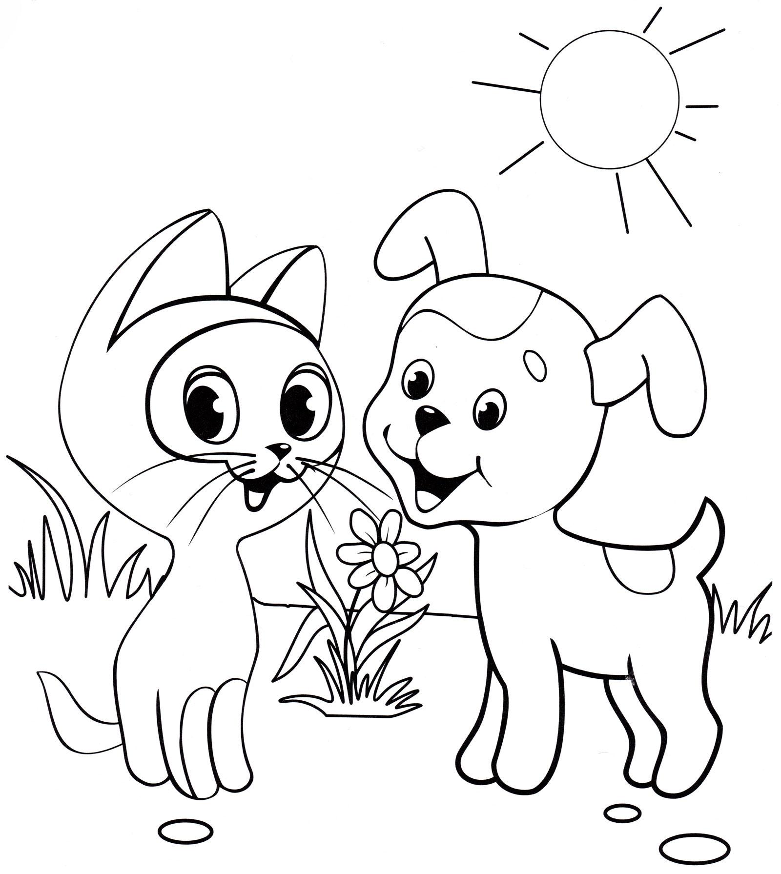 Раскраска Котенок Гав и щенок из мультика Котенок Гав ...