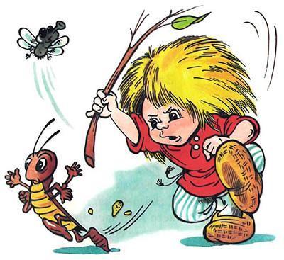 Домовёнок Кузька гоняется за насекомыми