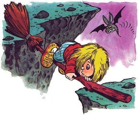 Домовёнок Кузька на метле застрял над пропастью
