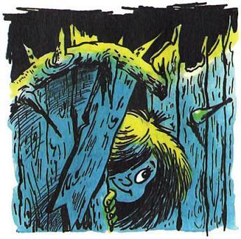 Домовёнок Кузька проходит через дыру в заборе