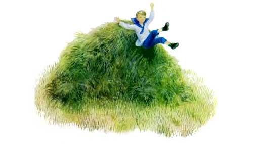 мальчик прыгает с стога сена