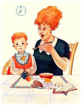 мама кормит маленького мальчика с ложечки