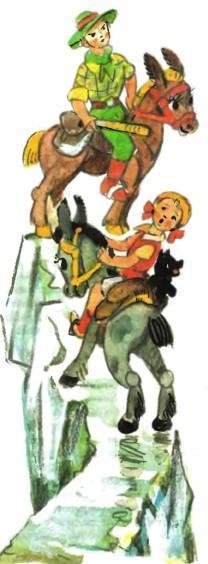 Тим и Энни верхом на мулах на скале