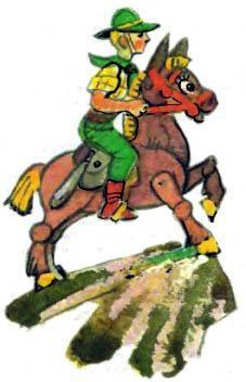 Тим верхом на муле на пике скалы