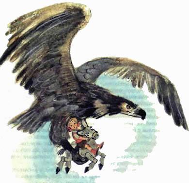Энни и мулл Цезарь в лапах орла Карфакса переносит