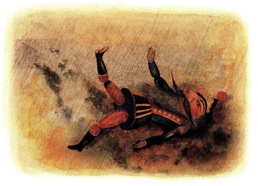 Крупная слеза, будто тяжёлая капля с карниза, упала на лицо деревянного солдата