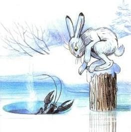 Заяц и рак, Сказка