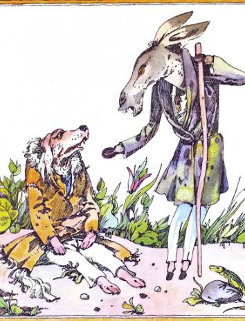 Осел и собака, Басня