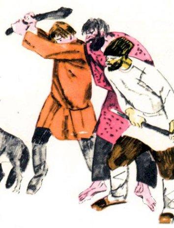 Волк и охотники, Басня