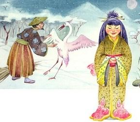 Сказка Журавлиные перья, Японская народная сказка
