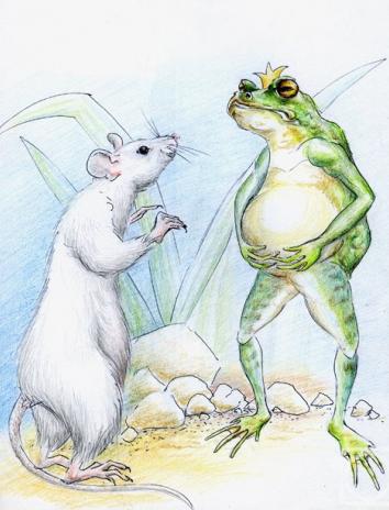 Лягушка и мышь, Басня