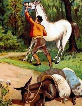 Осёл и лошадь, Басня