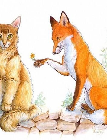 Лис и кошка, Сказка