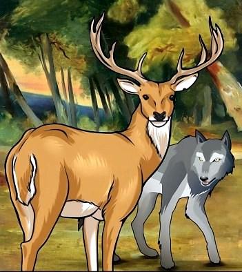 Волк и олень, Сказка