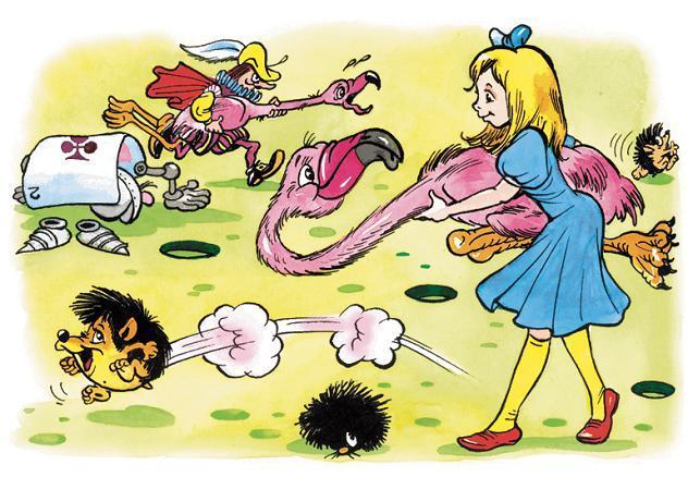 Алиса играет в крикет фламинго